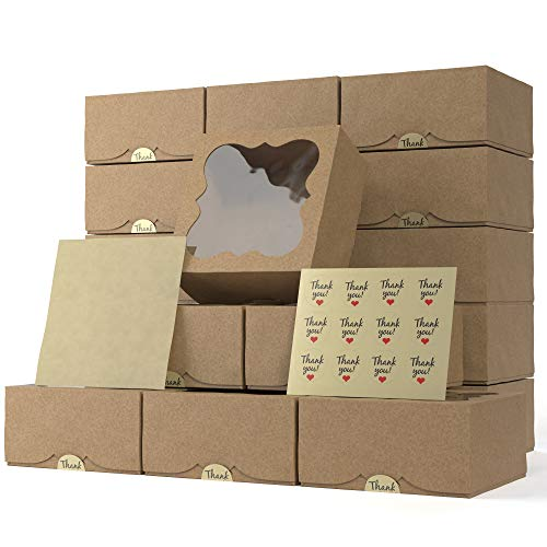 Bakery Boxes with Window 6x6x3 Inches Pack of 20 – Cookie, Cupcake, Cake, Pastry, Pie, Treat Boxes -Thick Natural Kraft Paper - Easy to Assemble - Great Cookie Boxes for Gift Giving (Brown)