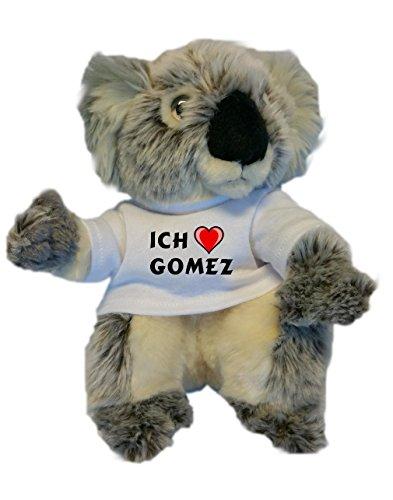Koala personalizada de peluche (juguete) con Amo Gomez en la camiseta (nombre de pila/apellido/apodo)