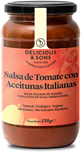 Delicious & Sons Salsa de Tomate con Aceitunas Italianas - Ecológica - Sin Transgénicos - Sin Gluten - Sin Azúcares Añadidos - Vegana - Paleo y Keto - 530g