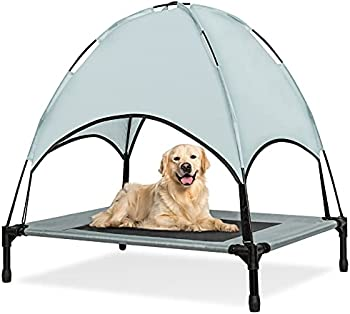 Niubya Outdoor Dog Bed Elevated Dog Bed with Removable Canopy Shad