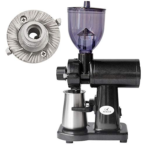 XEOLEOエスプレッソコーヒーグラインダー電気コーヒーグラインダーブラックフラットバーコーヒーミル家庭用フライス盤150Wコーヒーメーカー