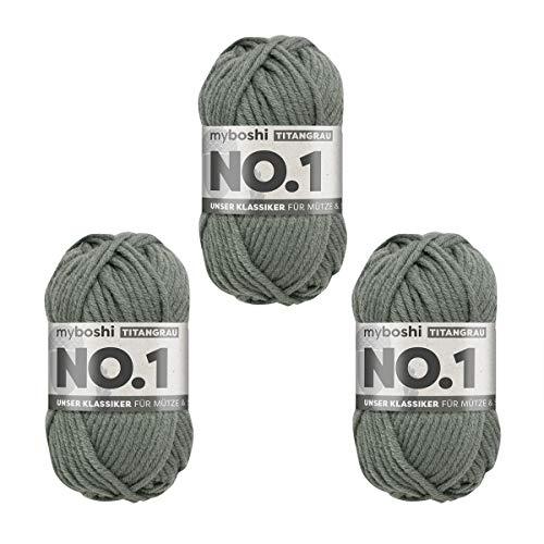 myboshi No.1-Wolle zum Häkeln und Stricken, mit Merinowolle, hochwertiges Schnellstrickgarn, Pflegeleichte, langlebige Mützenwolle, Mulesing-frei, 3 knl x 50gr, Ll 55m Titangrau
