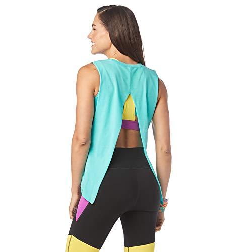 Zumba Activewear Backless Top Deportivo Dance Fitness Camisetas de Entrenamiento, Teal Me Everything, Medium