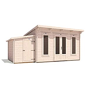 Log Cabin with Side Shed 5.5m x 3m
