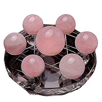 Feng Shui 7 Star Group Natural Pink Chakra Crystal Sphere Ball with Clear Crystal Stand W3063