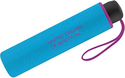 Benetton Regenschirm Schirm Taschenschirm klein & leicht (Light Blue)
