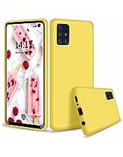 CRABOT Compatible con Samsung Galaxy A71 Silicona Líquida Caso Cubierta de Goma Anti-caída Resistente a Los Arañazos Carcasa del Teléfono+1*(Protector de Pantalla Gratuito)-Amarillo