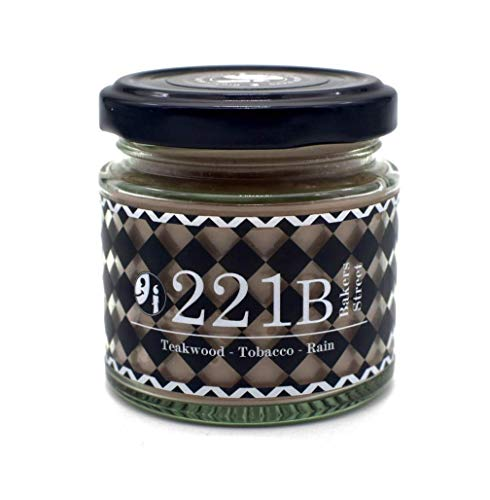 221B Baker Street Scented Candle - Teakwood, Tobacco, Rain Candles for Men and Women – Soy Blend Scented Candle – Conan Doyle Quote – Sherlock Holmes Home Office Candle – Luxury Candles with Lid