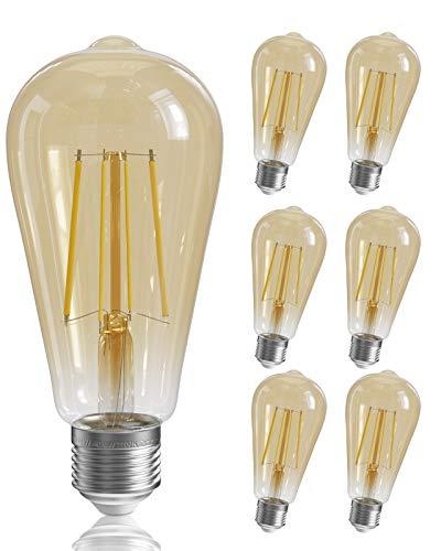 QNINE 6-Pack Dimmable E27 Vintage Light Bulbs, 6W (60W Equivalent), Warm White 2700K, LED Filament Bulb