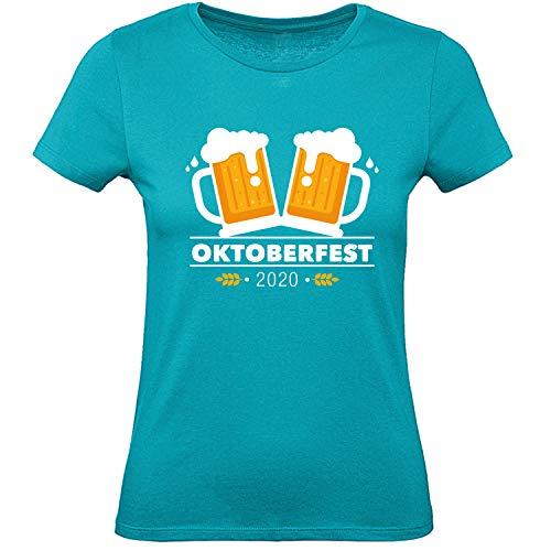 Shirt-Panda Oktoberfest T-Shirt Damen · Maßkrug 2020 · Tracht für Frauen· Wiesen Dirndl · München Stuttgart Wasen Outfit · Bier Krüge · Petrol M