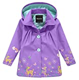 Wantdo Girl's and Boy's Hooded Rain Jacket Windproof Fleece Raincoat(Purple, 7-8Y)