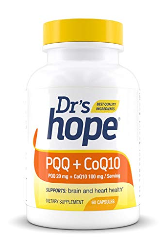 Dr's Hope PQQ (Pyrroloquinoline Quinone) 20 mg + CoQ10 (Ubiquinol) 100mg - Supports Nerve Growth Factor in Mental Support and Cardiovascular - Non-GMO, Gluten Free, Vegan - Made in USA - 60 Veggie Cap