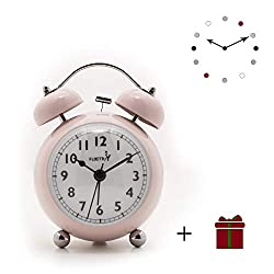 FLOITTUY {Loud Alarm Clock for Deep Sleepers} 3.5'' Twin Bell Alarm Clock with Backlight for Bedroom,No-Ticking,Cute(Pink)