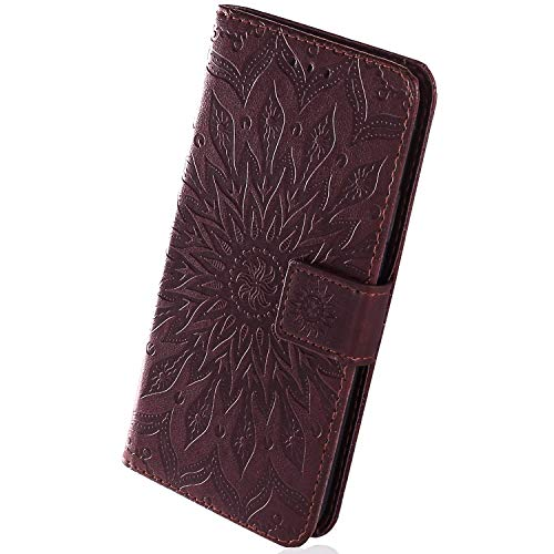 Herbests Compatible with Samsung Galaxy A40 Wallet Case Emboss Sunflower Folio Flip Leather Cover with Card Slots & Kickstand Full Body Protective Cover Wrist Strap Magnetic Closure,Brown