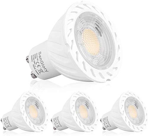 SanGlory Ampoules LED GU10, 7W GU10 LED Ampoules Spot Equivalent 70W Halogène, 680 Lumen, Blanc Chaud 3000K, Lot de 4