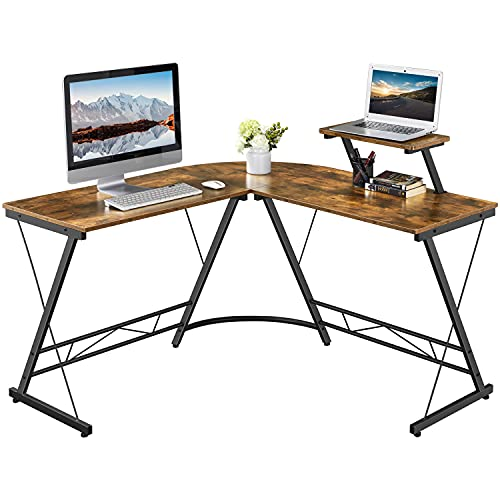 Yaheetech L-Shaped Computer Desk with Monitor Stand Computer Corner Desk for Gaming/Writing/Home Office Rustic Brown