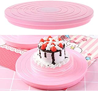 Cake Turntable Plastic Anti-Slip Stand Holder Rotate Platform Size Scale Display for Decorating Birthday Wedding Cakes,