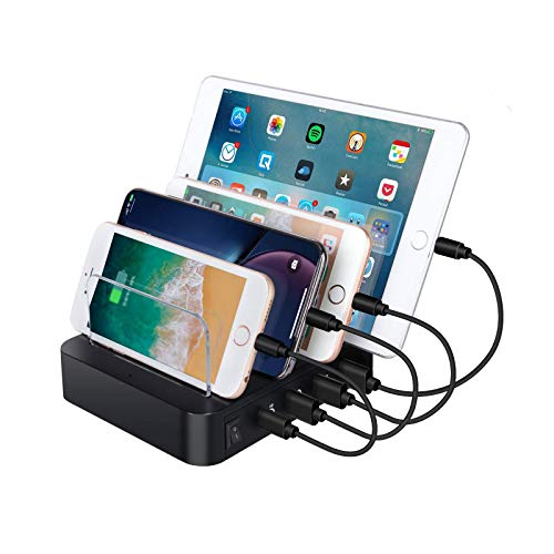 zvcv USB Charging Station 4 Ports USB Dock, 60W Multi-Port Stand Desktop Organizer,Desktop Charger for MacBook Pro/Air/IPad Pro/S10/IPhone 11/Pro/Max and More