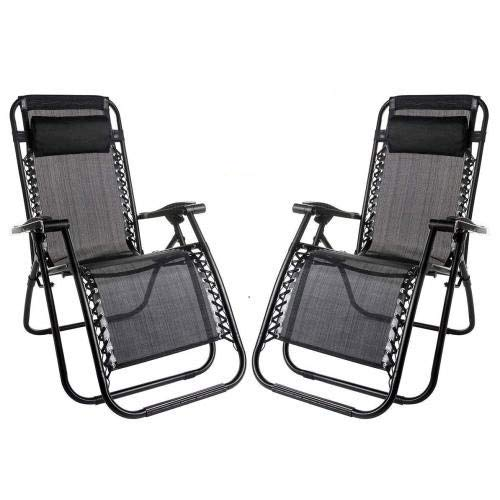 Set of 2 Heavy Duty Textoline Zero Gravity Chairs Garden Outdoor Patio Sunloungers Folding Reclining Chairs Lounger Deck Chairs