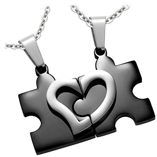 Schmuck-Pur Partner-Ketten mit persönlicher Laser-Gravur Puzzle schwarz Freundschaftsanhänger Edelstahl 2 Halsketten 45/50 cm