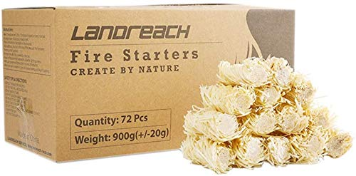 LANDREACH Charcoal Fire Starters 72 PCS - 100% All Natural Starter Pods Minutes Burn for BBQ, Campfire, Charcoal, Fire Pit, Wood & Pellet Stove, Waterproof for Indoor/Outdoor, Super Fast Lighting