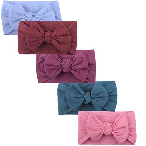wanshop ® 5PCS Neonata Elastica Fascia, Capelli Bambina Multicolore Fascia,Regolabile Bambina Accessori Fasce (B)