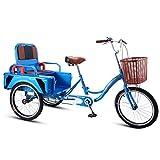 OFFA Bicicletas De 3 Ruedas Adult Tricycle Seniors, Trike 20 Pulgadas Bicicletas De Crucero De Tres Ruedas con Tres Ruedas con Caminatas De Pasajeros Y De Carga para Compras, Ejercicio para Hombres