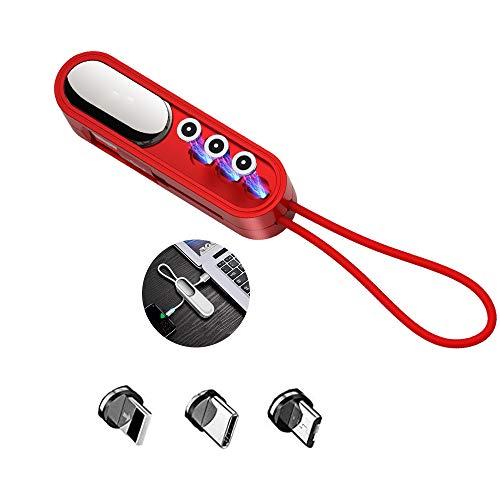 Cable De Carga para Llavero Mini 3 En 1, Cargador De Llavero Universal, Cable De Carga Portátil Magnético, Compatible con iOS/Tipo C/Micro USB para Teléfonos, Tabletas (1PCS,Rojo)