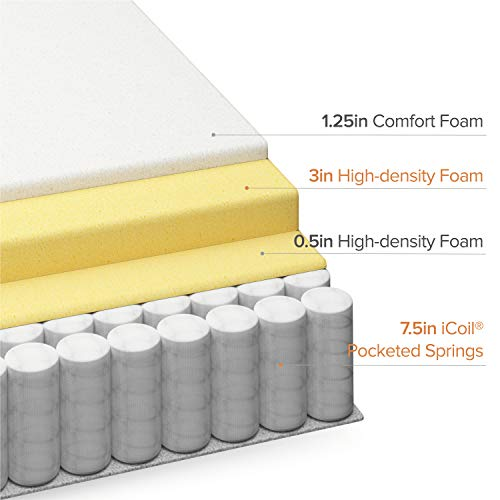 Zinus 13 Inch Euro Top Pocket Spring Hybrid Mattress / Pressure Relief / Pocket Innersprings for Motion Isolation / Bed-in-a-Box, Queen