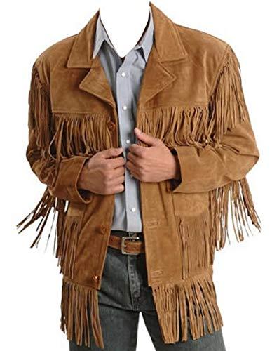 Quality Cowboy Jackets Chamarra de Piel Vaquera Tradicional para Hombre, Chaqueta marrón con Flecos nativos Americanos de Ante - Negro - 5X-Large