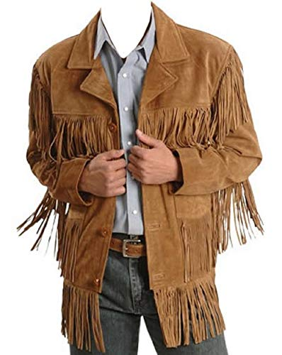 Men's Traditional Cowboy Western Leather Jacket Brown Coat with Fringe Native American Jacket Suede-M