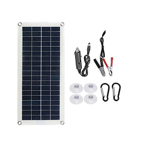 Kit de panel solar de 60 W, 12 V/5 V, doble salida USB, panel solar de poli para coche yate batería cargador barco (color: solo panel solar)