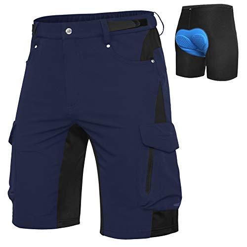Cycorld MTB Hose Herren Fahrradhose, Schnelltrocknende MTB Shorts Herren Mountainbike Hose Baggy Bike Shorts, Atmungsaktiv Radhose mit Verstellbaren Klettverschlüssen (Navy blau+Blaue Pad, M)