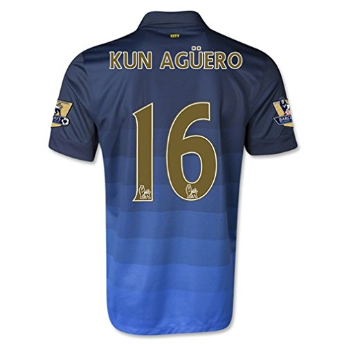 Nike Manchester City Away 2014/15 Jersey (Official with Kun Aguero 16 and EPL Patches - Size S