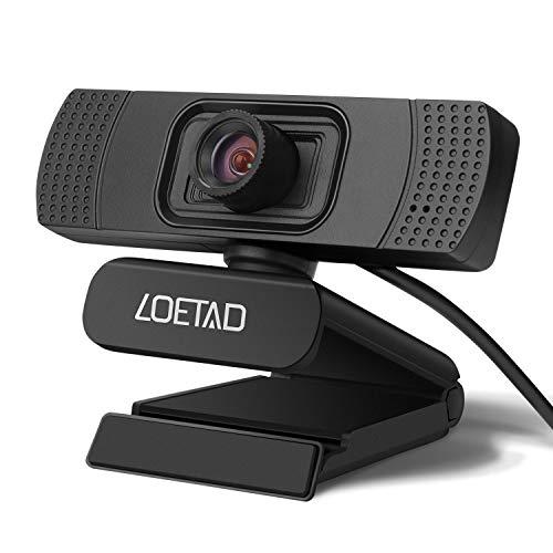 LOETAD Webcam 1080P Full HD PC Kamera mit Mikrofon USB für Video Chat Streaming Kompatibel mit Windows Mac OS (Manuellfokus)