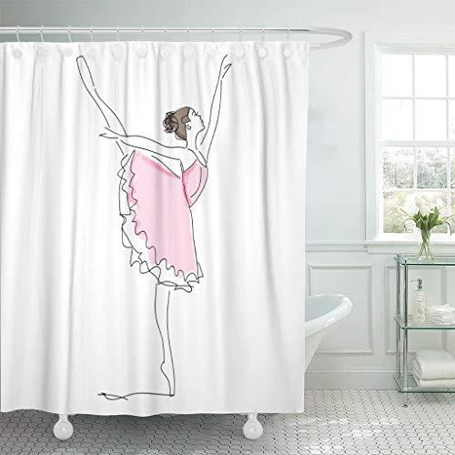 XCBN Rosa Ballerina Ballerina Tänzerin Mädchen Skizze Frau Duschvorhang wasserdicht und schimmelfest mit Haken A1 120x180cm