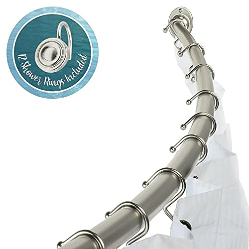 Curved Shower Rod Adjustable 37' - 63' and Round Hook Rings, Nickel Finish