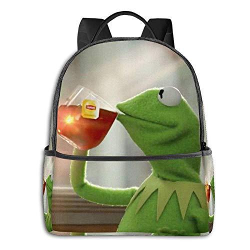 Kermit nippt Tee Schüler Schultasche Schule Radfahren Freizeitreisen