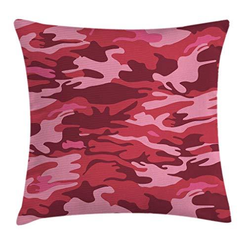 Funda de cojín con diseño de camuflaje, diseño de textura de camuflaje en tonos de rosa, tema conceptual de otoño, funda de almohada decorativa con acento cuadrado, rosa coral, 18 x 18 pulgadas