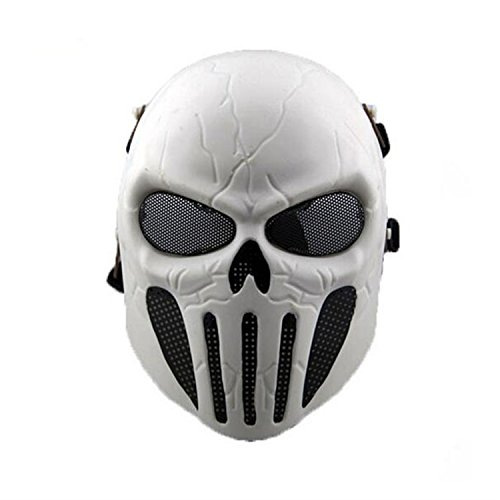 HAOYK Tactical Airsoft Full Face Skull Skelett Maske Paintball Spiel CS Krieg Spiel Maske, weiß
