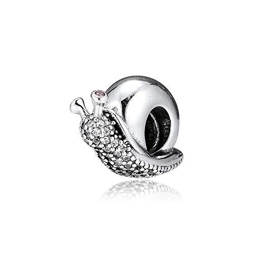 LISHOU Se Adapta A La Pulsera Pandora Argent Charm 925 Sterling Silver Sparkling Snail Charms Beads para DIY Women Jewelry Making