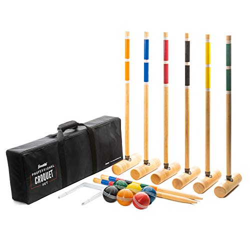 Franklin Sports Croquet Sets - Includes Croquet Wood Mallets, All Weather Balls, Wood Stakes and Metal Wickets - Carry Case Included - Professional, Model:50212