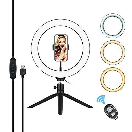 Anillo de luz LED de 10 pulgadas con soporte de maquillaje, vídeo, selfie con 3 modos de luz regulables y 10 niveles de brillo para fotografía de vídeo y transmisión en directo de YouTube