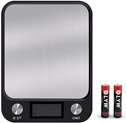 Senders Báscula digital de cocina de 1 a 10 kg, con gran pantalla LCD, superficie de acero inoxidable y función de tara