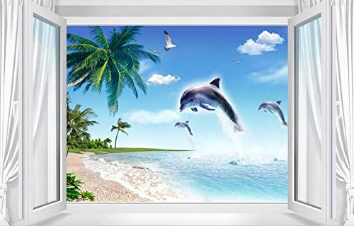 3D-Wandgemalde, Tapete, 3D, Tapete, Wandfarbe, Himmelblau, Fenster, 3D, Papier, stereoskopisch, Dekoration des Hauses, 400 x 280 cm, Seidenstoff