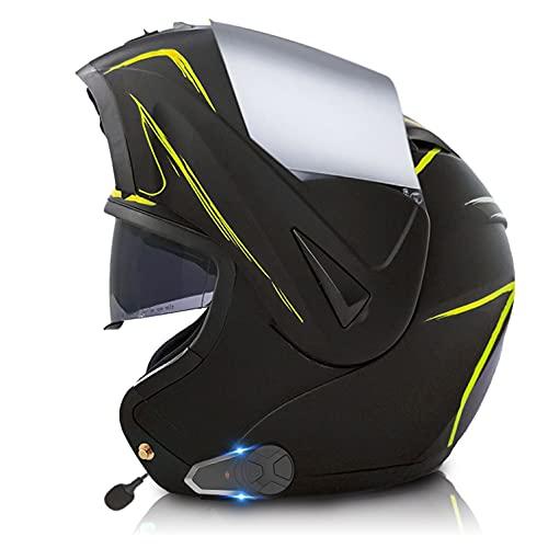 Casco de Moto Modular Bluetooth Integrado walkie-Talkie Con Visera Solar Doble Casco Moto Integral Con FM Cascos Bluetooth Moto Hombre, ECE Homologado O,S