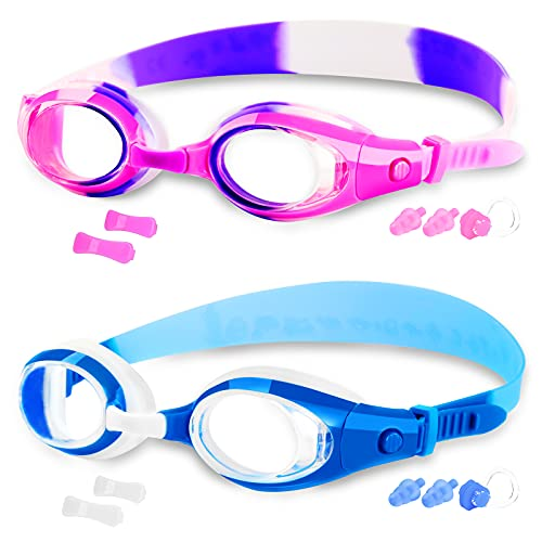 COOLOO Kids Swim Goggles, Pack of 2, Swimming Goggles for Children Boys Girls Youth and Early Teens from 3 to 12 Years Old, Anti-Fog, Waterproof, Clear Vision, No Leaking