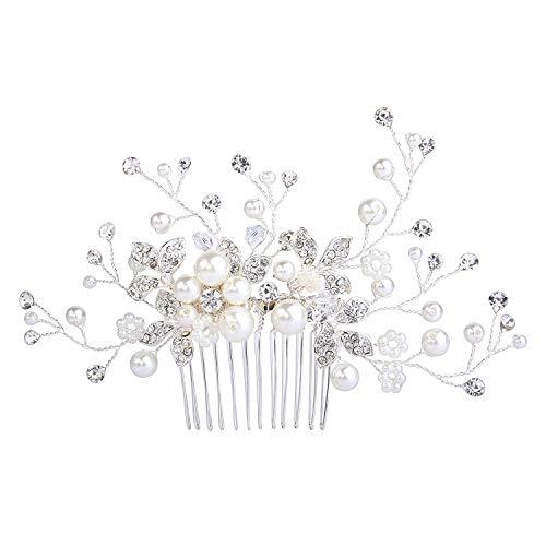 Damen Künstliche Perlen Kristall Blume Handarbeit DIY Braut Hochzeit Haarkamm Haarschmuck Ivory Farbe