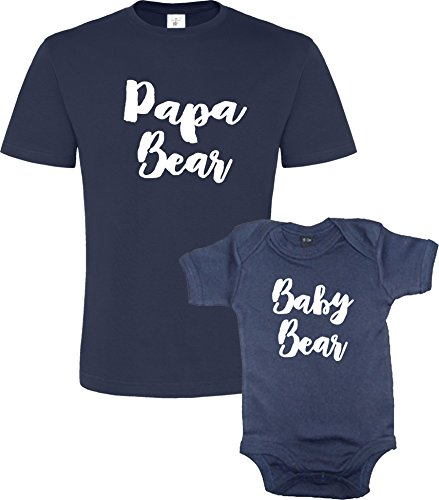 Ensemble DE Tee Shirt Papa et Baby Bear Tee Shirt et Body Marine