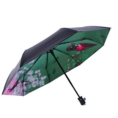 Paraguas Protector Solar Negro Mujer del Parasol De Mujeres Paraguas Automático Anti UV Paraguas Lluvia Mujeres Paraguas Plegable Plegable (Color : Inside Printing H)
